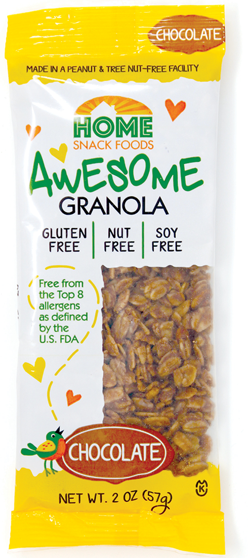 home snack foods awesome granola chocolate 2oz pouch front