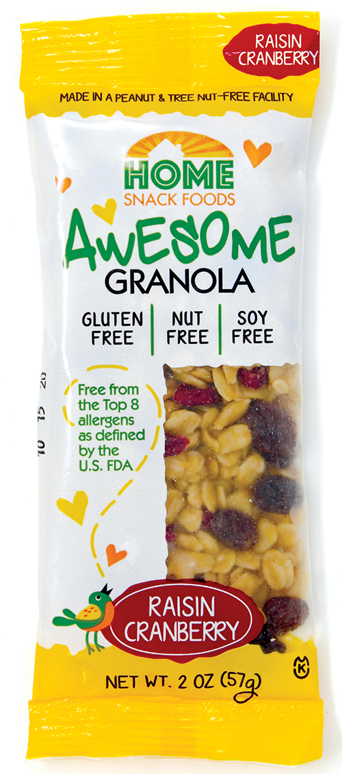 home snack foods awesome granola cranraisin 2oz pouch front